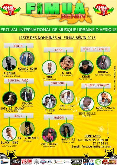 FIMUA  Benin 2015: La liste officielle des 16 artistes nominés dévoilées